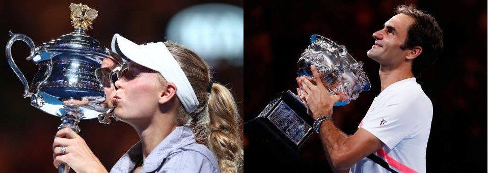 Wozniacki, Federer win 2018 Australian Open